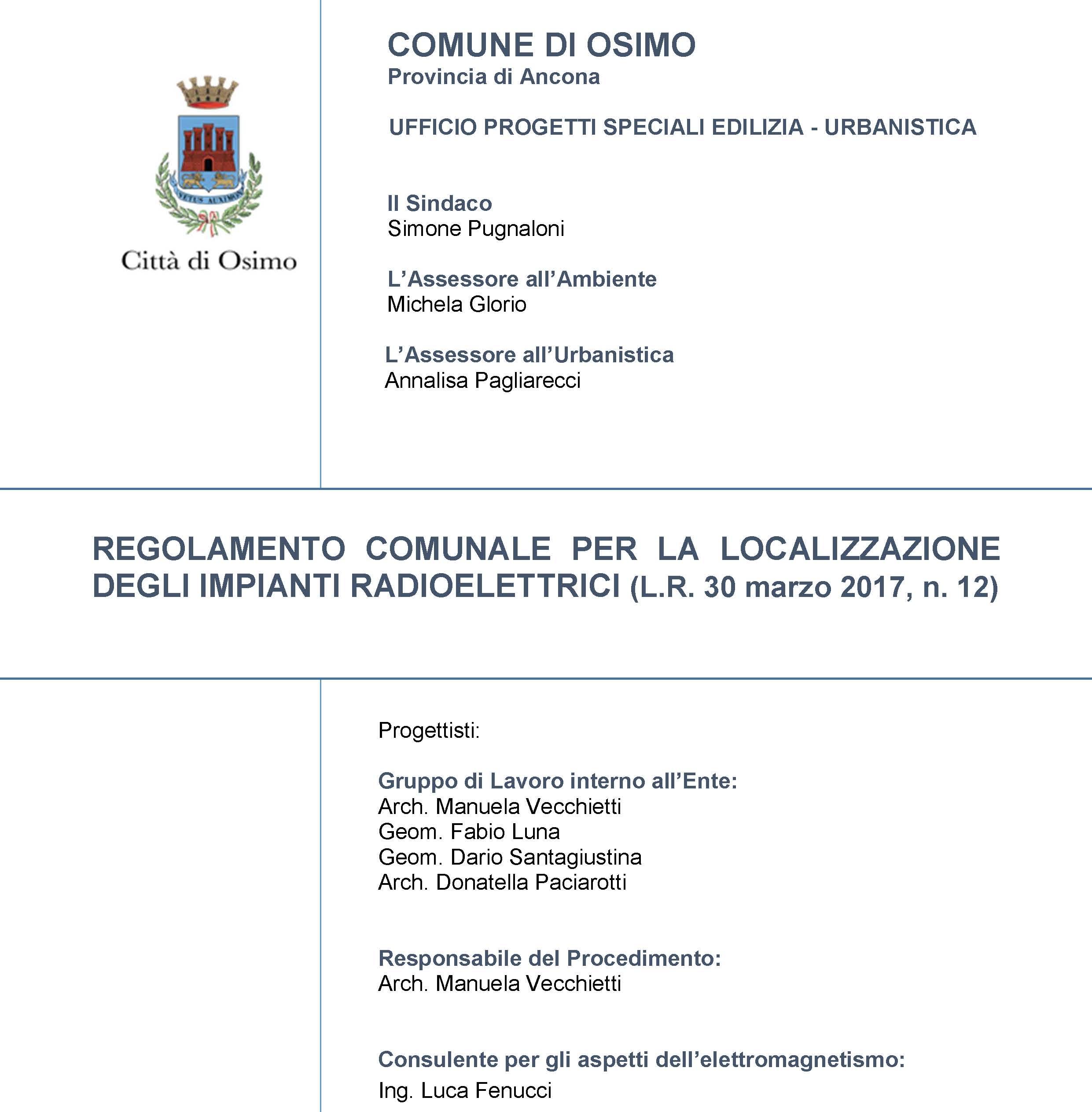 """""""Regolamento Comunale per la Localizzazione degli Impianti Radioelettrici (L.R. 30 marzo 2017, n. 12)"""" – Bozza"""